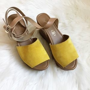 Seychelles Gold Suede & Leather Wedges
